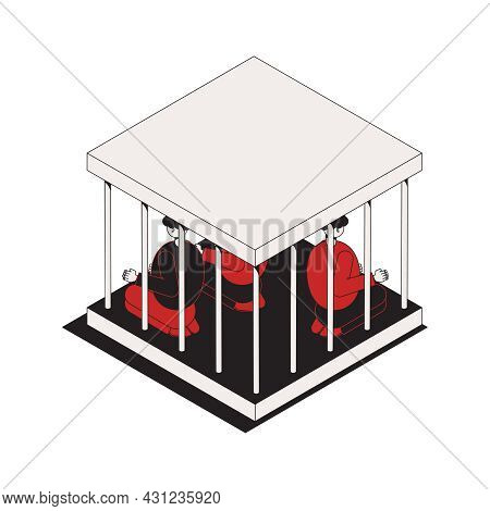 Isometric Icon With Criminals In Small Cage 3d Vector Illustration
