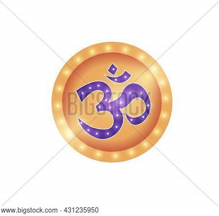Om Spiritual Hindi Symbol In Golden Circle Cartoon Vector Illustration