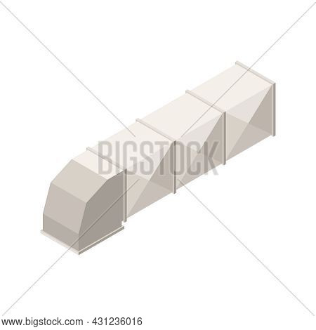 Building Interior Icon With Air Duct On White Background Isometric Vector Illustration