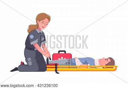 Female Paramedic With First Aid Kit Helping Injured Man After Accident Cartoon Vector Illustration