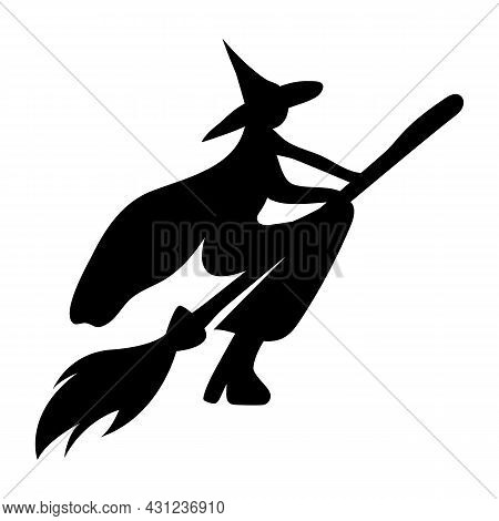 Silhouette Of A Witch Flying On A Broomstick. Character For Halloween. Witch Hat Sticker In Cartoon