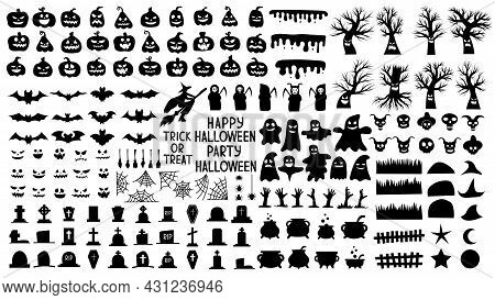 Collection Of Silhouettes For Halloween With Creepy Pumpkins And Scary Trees And Ghosts. Set Of Blac