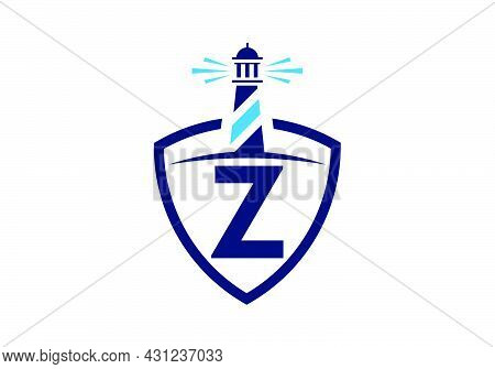 Initial Z Monogram Alphabet In A Shield With The Lighthouse. Harbor Logo. Font Emblem. Modern Vector
