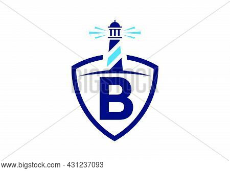 Initial B Monogram Alphabet In A Shield With The Lighthouse. Harbor Logo. Font Emblem. Modern Vector