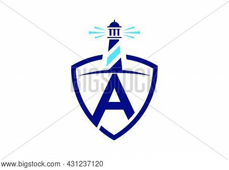 Initial A Monogram Alphabet In A Shield With The Lighthouse. Harbor Logo. Font Emblem. Modern Vector
