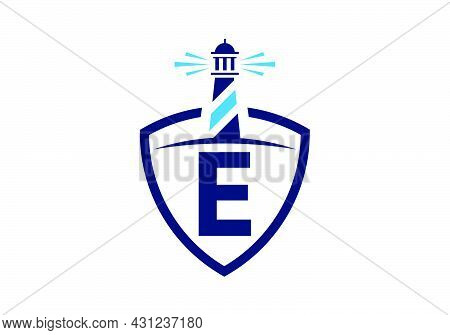 Initial E Monogram Alphabet In A Shield With The Lighthouse. Harbor Logo. Font Emblem. Modern Vector