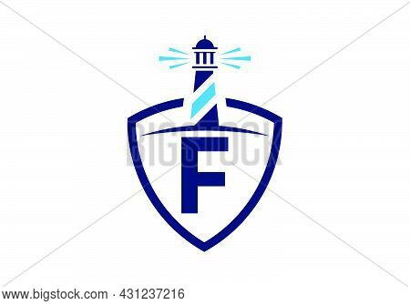 Initial F Monogram Alphabet In A Shield With The Lighthouse. Harbor Logo. Font Emblem. Modern Vector