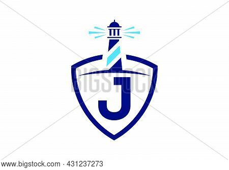 Initial J Monogram Alphabet In A Shield With The Lighthouse. Harbor Logo. Font Emblem. Modern Vector
