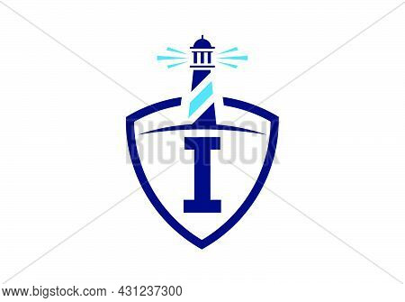 Initial I Monogram Alphabet In A Shield With The Lighthouse. Harbor Logo. Font Emblem. Modern Vector