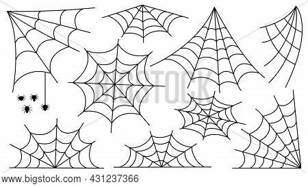 Spider Web Set. Halloween Decoration With Spiders. A Creepy Spider Web In An Abandoned Place. Outlin