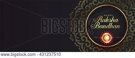 Decorative Raksha Bandhan Golden Black Banner With Rakhi Design