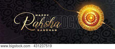 Beautiful Dark Raksha Bandhan Card Banner With Realistic Rakhi