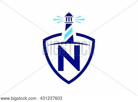 Initial N Monogram Alphabet In A Shield With The Lighthouse. Harbor Logo. Font Emblem. Modern Vector