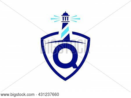 Initial Q Monogram Alphabet In A Shield With The Lighthouse. Harbor Logo. Font Emblem. Modern Vector