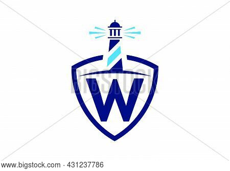 Initial W Monogram Alphabet In A Shield With The Lighthouse. Harbor Logo. Font Emblem. Modern Vector