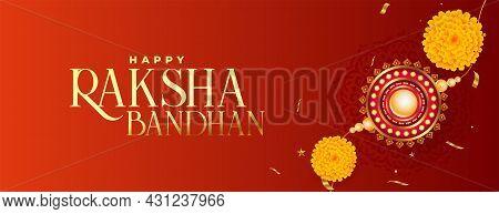 Traditional Raksha Bandhan Realistic Rakhi Banner With Flower And Rice