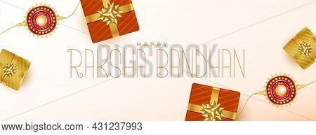Ethnic Raksha Bandhan Festival Banner With Gift Boxes And Rakhi Design