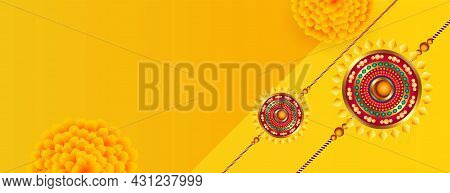 Indian Style Raksha Bandhan Flower Banner With Text Space