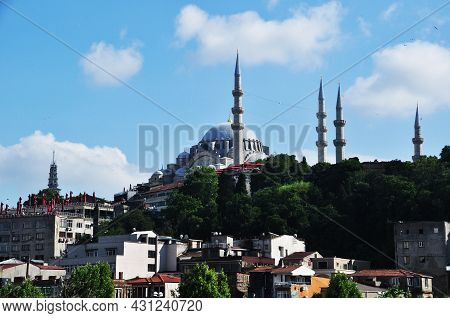 Panorama Of Istanbul. View Of The Suleymaniye Mosque In Istanbul. Mosque And Minarets On The Backgro