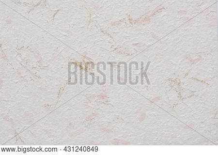 Mulberry Paper Pink Dry Flower And Leaves Texture Background