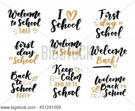 Set Of Welcome Back To School Labels. School Background. Back To School Sale Tag. Vector Illustratio