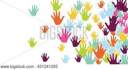 Cheerful Children Handprints Art Therapy Concept Background Design.