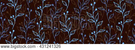 Berry Bush Sprigs Botanical Vector Seamless Background. Vintage Herbal Fabric Print. Meadow Plants F