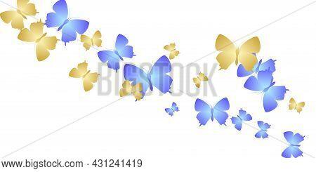 Exotic Bright Butterflies Abstract Vector Wallpaper. Spring Little Moths. Fancy Butterflies Abstract