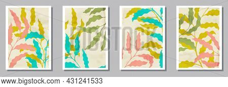 Herbal Wall Art Prints Set. Spring Twigs With Foliage. Summer Twigs