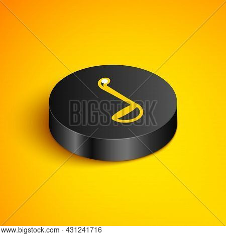 Isometric Line Kitchen Ladle Icon Isolated On Yellow Background. Cooking Utensil. Cutlery Spoon Sign