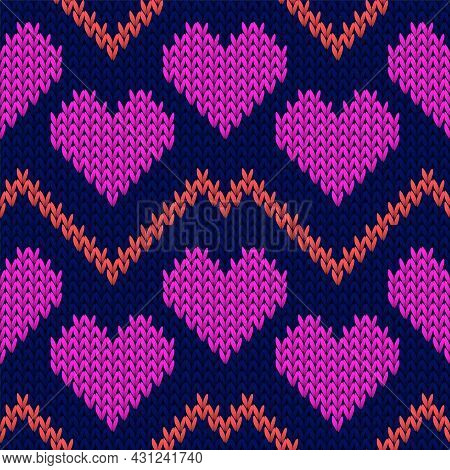 Fair Isle Heart Knit Nordic Vector Seamless Pattern. Knitting Crochet Valentine Ornament.
