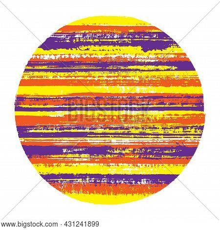 Abrupt Circle Vector Geometric Shape With Striped Texture Of Paint Horizontal Lines. Planet Concept