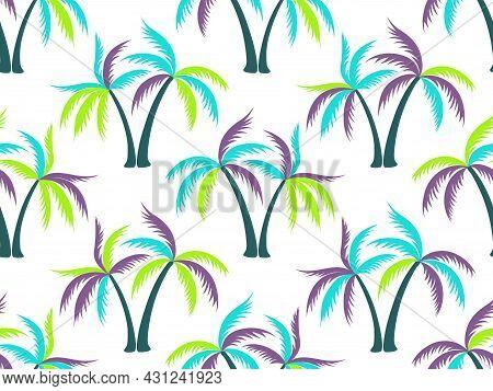 Palm Tree Minimal Seamless Pattern Vector Design.