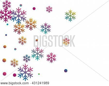 Crystal Snowflake And Circle Elements Vector Design. Windy Winter Snow Confetti Scatter Poster Backg