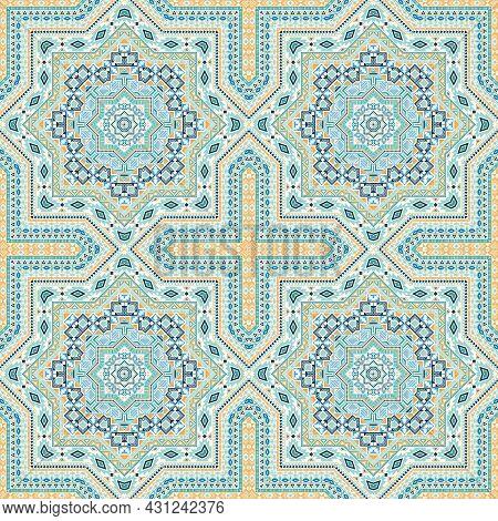 Fine Italian Maiolica Tile Seamless Rapport. Geometric Texture Vector Elements. Linens Print Design.