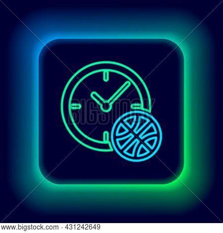 Glowing Neon Line Planning Strategy Concept Icon Isolated On Black Background. Basketball Cup Format