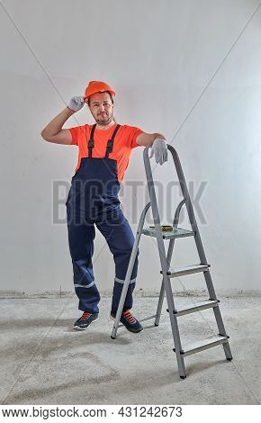 Happy Life Repairman Leaned On The Ladder