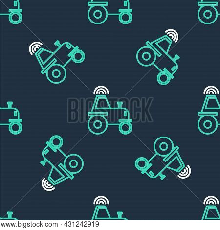 Line Self Driving Wireless Tractor On A Smart Farm Icon Isolated Seamless Pattern On Black Backgroun