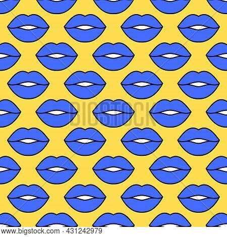Sexy Lips. Seamless Vector Pattern. Blue Lips With A Black Outline On A Yellow Background. Fashion P