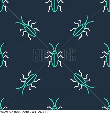 Line Cockroach Icon Isolated Seamless Pattern On Black Background. Vector