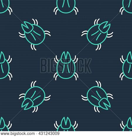 Line Parasite Mite Icon Isolated Seamless Pattern On Black Background. Vector