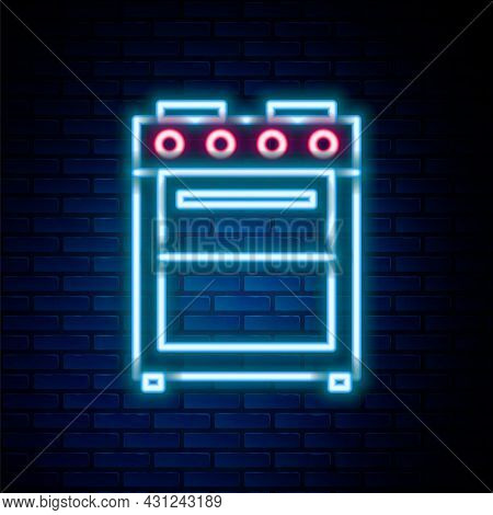 Glowing Neon Line Oven Icon Isolated On Brick Wall Background. Stove Gas Oven Sign. Colorful Outline