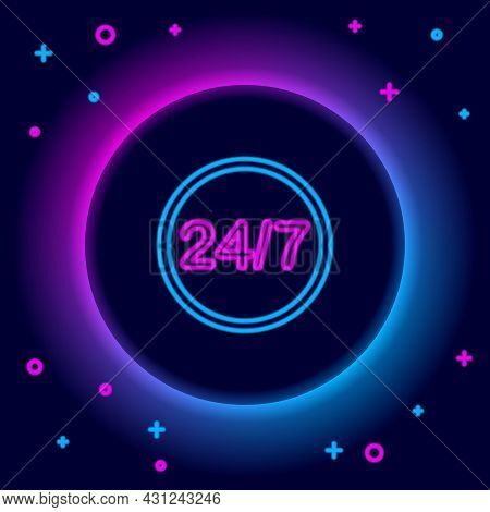 Glowing Neon Line Clock 24 Hours Icon Isolated On Black Background. All Day Cyclic Icon. 24 Hours Se