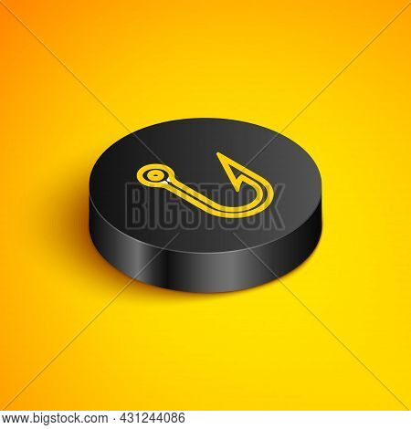 Isometric Line Fishing Hook Icon Isolated On Yellow Background. Fishing Tackle. Black Circle Button.
