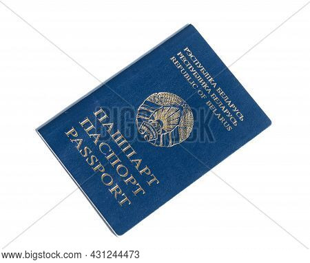 Passport Of A Citizen Of The Republic Of Belarus On White Background.