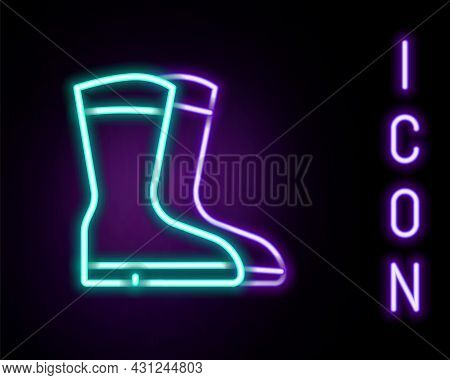 Glowing Neon Line Fishing Boots Icon Isolated On Black Background. Waterproof Rubber Boot. Gumboots