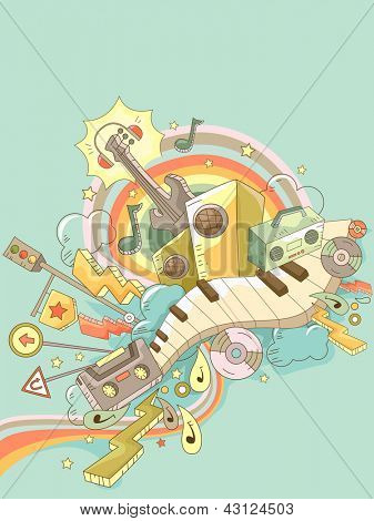 Background Illustration of Music Elements Doodle Design with Road Signs
