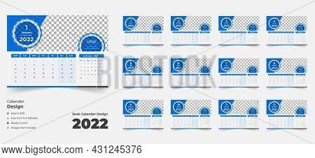 2022 Desk Calendar With Blue Layout, Blue Desk Calendar 2022, New Desk Calendar 2021 Template 12 Mon