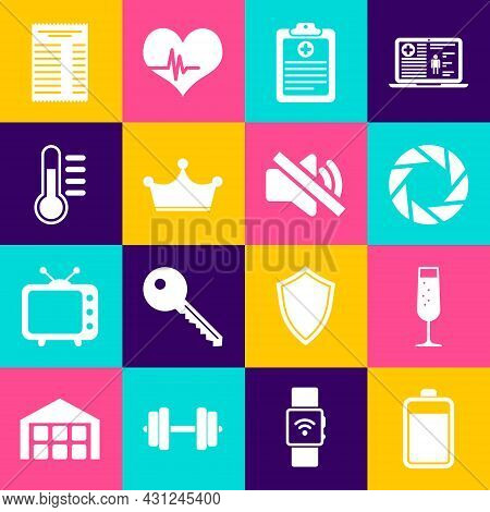 Set Battery, Glass Of Champagne, Camera Shutter, Clinical Record, Crown And Thermometer Icon. Vector