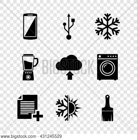 Set Smartphone, Mobile Phone, Usb, Snowflake, Add New File, Sun And Snowflake And Paint Brush Icon.